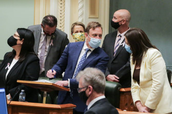 Senior Queensland Labor government MPs Grace Grace, Craig Crawford, Di Farmer, Glenn Butcher, Steven Miles and Premier Annastacia Palaszczuk at the passage of the bill on Thursday evening.