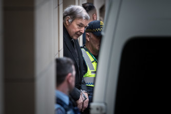 George Pell leaving court after Victoria's highest court rejected his appeal on Wednesday.
