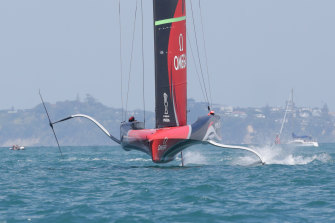 Emirates Team New Zealand competes against INEOS Team UK in December.