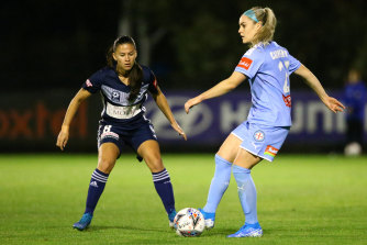 Star Matilda and former Melbourne City player Ellie Carpenter (right) has headed to France.