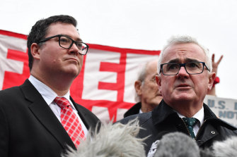 Liberal National Party MP George Christensen and independent MP Andrew Wilkie outside Belmarsh Prison after visiting Julian Assange last year.