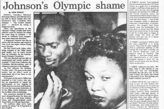 "The Sydney Morning Herald reported on ""Johnson's Olympic shame"" on September 28, 1988."