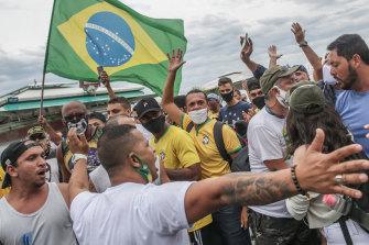 Bolsonaro supporters rally at Copacabana beach on June 7, 2020, in Rio de Janeiro.