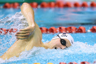 Mack Horton competes in the men's 400m freestyle heat, in which he finished second to Jack McLoughlin.