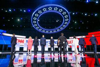 Candidates Michael Bennet, Kirsten Gillibrand, Julian Castro, Senator Cory Booker, Joe Biden, Kamala Harris, Andrew Yang, Tulsi Gabbard, Jay Inslee, and Bill de Blasio.