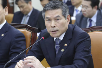 South Korean Defence Minister Jeong Kyeong-doo answers a lawmaker's question about North Koreans' deportation at the National Assembly in Seoul, South Korea.