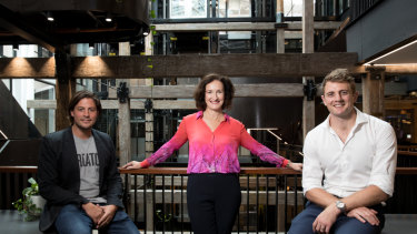 WeWork general manager Balder Tol, TransitionHub founder Louise Watts, and TransitionHub coach and former Wallaby, Dean Mumm, at WeWork's space in Pyrmont, Sydney.