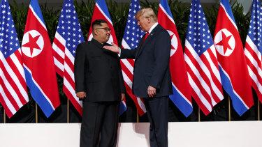 President Donald Trump meets with North Korean leader Kim Jong-un.