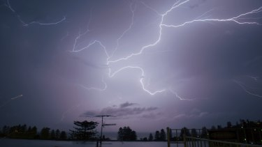 Lightning from storms as they passed over Sydney.