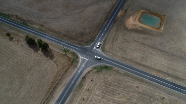 Aerial shot of the intersection at Birregurra-Forrest and Colac-Lorne roads {at Deepdene Road} in Birregurra. The site of several car crashes including one where a man died.