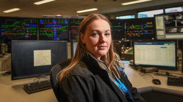 Train controller Kelsey Segar