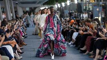 A model walks the runway wearing creations by Aje during Mercedes-Benz Fashion Week Australia on Sunday.