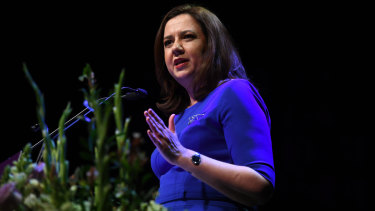 Queensland Premier Annastacia Palaszczuk speaks during the Premier's Women on Boards event in Brisbane on Wednesday.