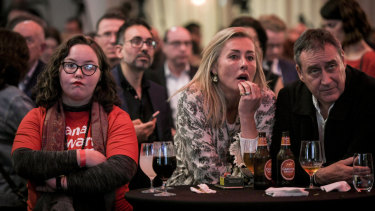 Labor supporters at the election night function for Opposition Leader Bill Shorten in Melbourne.