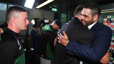 Time to go: Greg Inglis bids farewell to teammates. The Rabbitohs v Broncos clash will double as a farewell game the retired superstar.