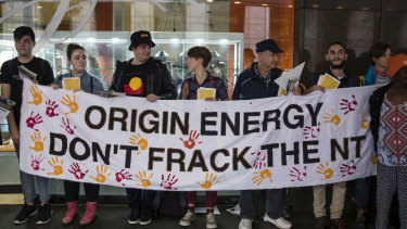 Anti fracking protestors outside the Origin Energy Annual General Meeting held at the Sofitel Wentworth in Sydney this week.