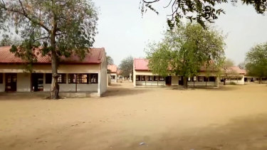 This image taken from video shows the exterior of Government Girls Science and Tech College in Dapchi, Yobe State, Nigeria, raided by Boko Haram militants  on  February  22.