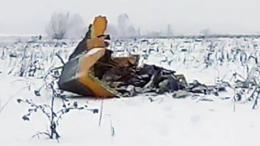 The wreckage of the Saratov Airlines plane near the village of Stepanovskoye, about 40 kilometres from Moscow.