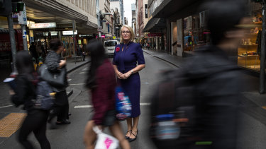 Lord mayor Sally Capp in Little Collins Street.