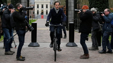 Dutch Prime Minister Mark Rutte leaves the Royal Palace after resigning.