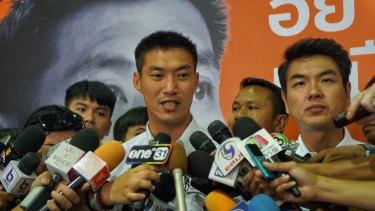 Thanathorn Juangroongruangkit, leader of Future Forward party, addresses the media.