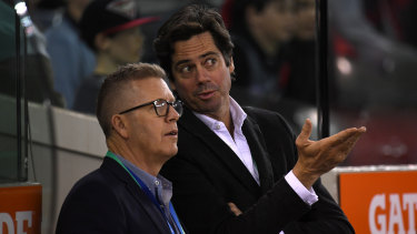 AFL boss Gillon McLachlan with the league's footy operations manager, Steve Hocking.