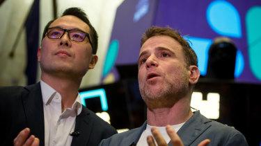 Slack CFO Allen Shim with founder Stewart Butterfield.