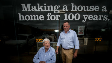 Peter Cusack and father David, 88. Cusacks was started in 1918 in Yass by David's father Stan.