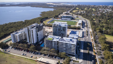 Aerial view of the Woolooware Bay Town Centre development, including Shark Park, home of the Cronulla Sharks.