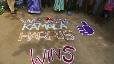 Messages of support were painted around the lush green Indian village of Thulasendrapuram, the hometown of Kamala Harris' maternal grandfather.