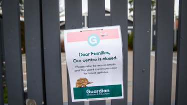 A sign outside the centre in Brighton East on Tuesday.