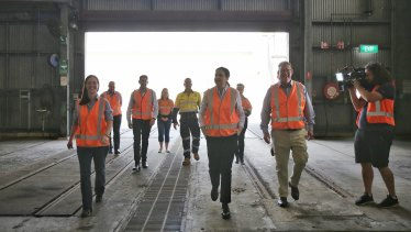 Queensland Premier Annastacia Palaszczuk tours Rockhampton's railway workshops on Thursday.