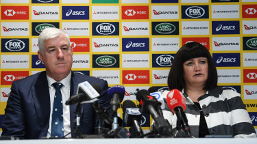 Under the pump: Rugby Australia chairman Cameron Clyne and chief executive Raelene Castle.