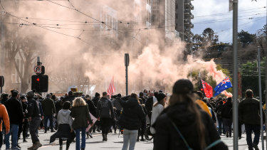 Large crowds of protesters took to Melbourne's streets last Saturday.