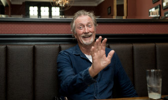 Bryan Brown at the Riverview Hotel in Balmain with his lemon squash.