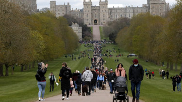 People on the Long Walk at Windsor Castle on Sunday. Some were there to lay flowers.