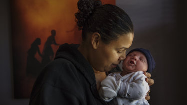 Stacey Foster-Rampant with her baby boy, Tyler. She received support from the Malabar Midwives service.