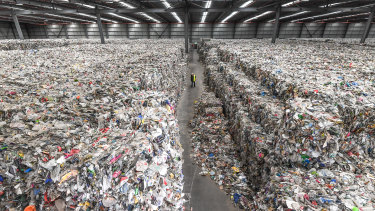 A warehouse in Derrimut where thousands of tonnes of waste left by SKM still sits. SKM's purchase by Cleanaway will not address the problem.