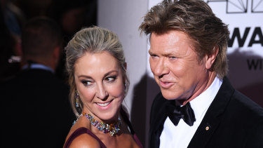 Richard Wilkins, right, with his girlfriend Virginia Burmeister at this year's ARIA Awards.