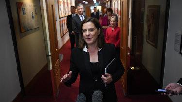 Opposition Leader Deb Frecklington faces the media with senior colleagues.