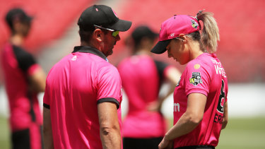 Sixers captain Ellyse Perry with coach Ben Sawyer.