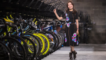 Director of international business at developer UEM Sunrise Ong Chee Wei at Aurora Melbourne Central's 700-plus capacity bike locker.