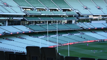 An empty MCG members reserve during the round 23 Essendon v Collingwood game.
