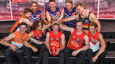Top 10 draft picks: (back, left to right) Tom Green, Liam Henry, Caleb Serong, Hayden Young, Fischer McAsey, (front) Lachie Ash, Luke Jackson, Matt Rowell, Noah Anderson and Dylan Stephens.