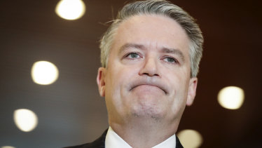 Finance Minister Mathias Cormann speaks after Pauline Hanson withdrew her support for the company tax cuts.