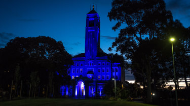 Victorian Police Academy lit up in blue in honour of officers killed on the Eastern Freeway.