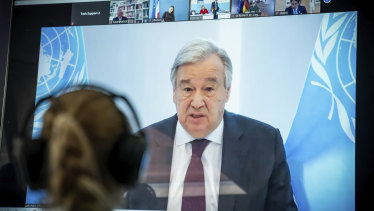 Antonio Guterres, UN Secretary-General, delivers a speech remotely to the Petersberg Climate Dialogue.
