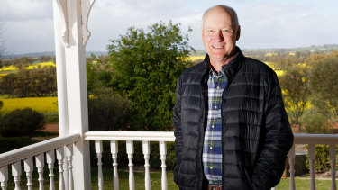 Qantas chairman Richard Goyder on his farm at Bejoording east of Perth.