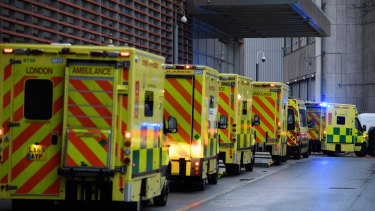 A row of ambulances outside the Royal London Hospital last week.