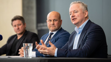 Hugh Marks with interim Rugby Australia CEO Rob Clarke at the announcement of the Stan Sport deal last week.